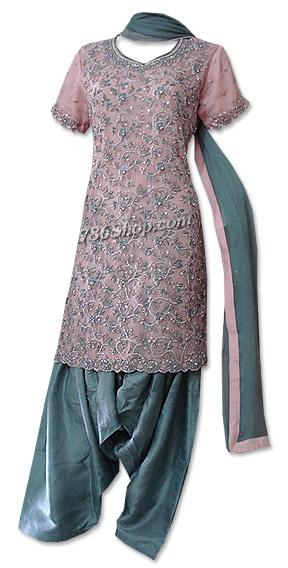 Pink/Grey Crinkle Chiffon Suit   Pakistani Dresses in USA