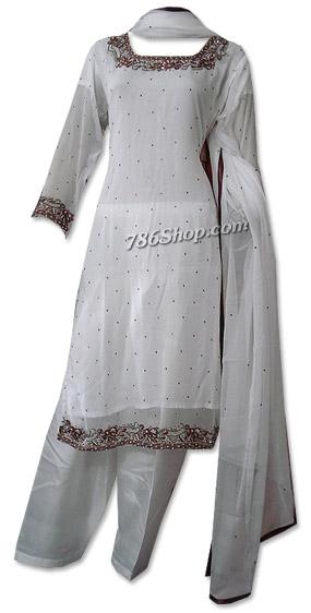 White Crinkle Chiffon Suit | Pakistani Dresses in USA