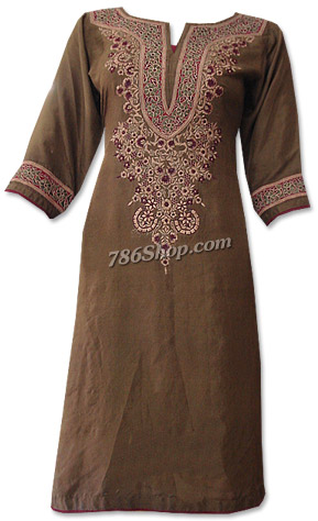 Brown Chiffon Suit    Pakistani Dresses in USA