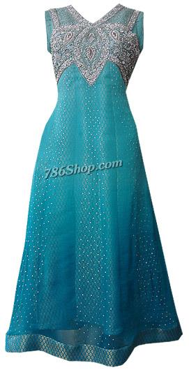 Turquoise Chiffon Suit | Pakistani Dresses in USA