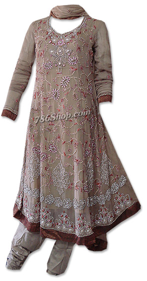 Fawn Crinkle Chiffon Suit   | Pakistani Dresses in USA