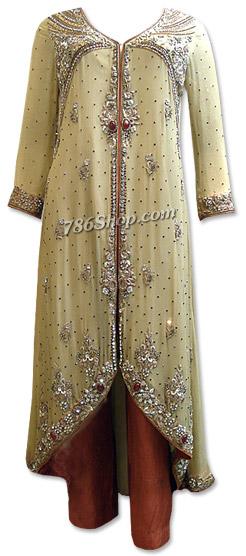 Light Golden/Brown Crinkle Chiffon Suit  | Pakistani Dresses in USA