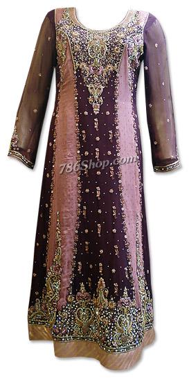 Dark Purple/Pink Crinkle Chiffon Suit    Pakistani Dresses in USA