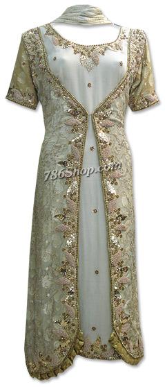 Light Golden Jamawar Chiffon Suit   Pakistani Dresses in USA