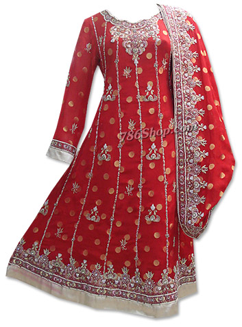 Red Jamawar Chiffon Suit  | Pakistani Dresses in USA