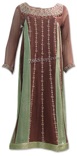 Brown/Light Green Crinkle Chiffon Suit   Pakistani Dresses in USA