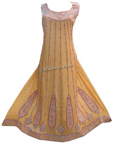 Mustard Crinkle Chiffon Suit  | Pakistani Dresses in USA