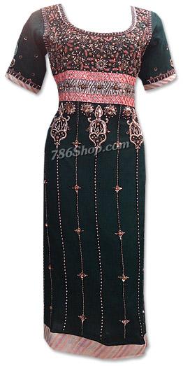 Black Crinkle Chiffon Suit   Pakistani Dresses in USA