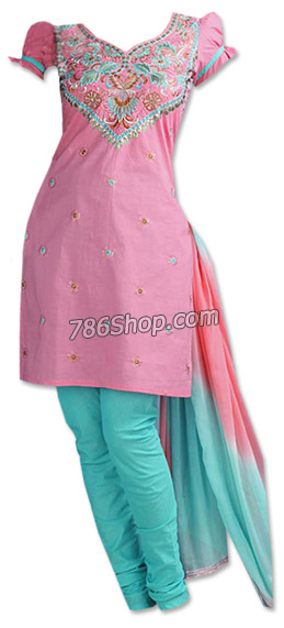 Pink/Sea Green Cotton Suit     Pakistani Dresses in USA