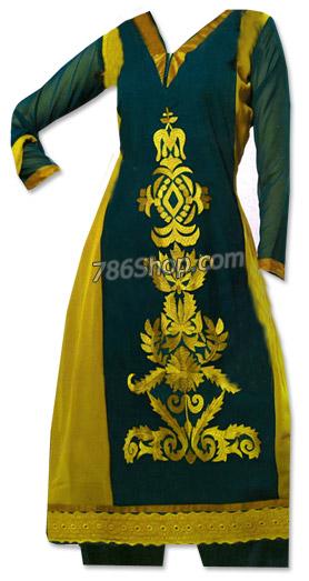 Dark Green/Yellow Georgette Suit  | Pakistani Dresses in USA
