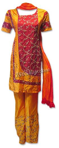 Maroon/Mustard Silk Suit  | Pakistani Dresses in USA