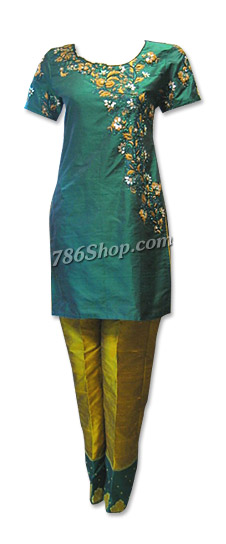 Dark Green/mustard Pure Silk Suit | Pakistani Dresses in USA