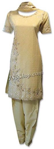 Cream Indian Silk Suit  | Pakistani Dresses in USA