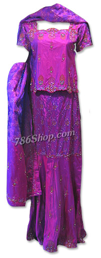 Magenta Pure Katan Silk Lehnga | Pakistani Wedding Dresses in USA
