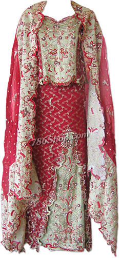 Maroon/Cream Katan Silk Jamawar Lehnga   Pakistani Wedding Dresses in USA