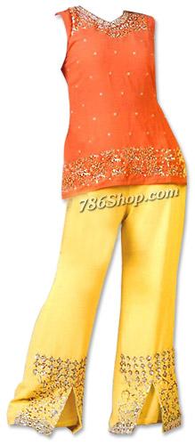 Orange/Yellow Georgette Trouser Suit | Pakistani Dresses in USA