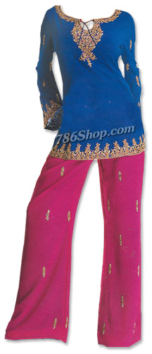 Blue/Magenta Georgette Trouser Suit | Pakistani Dresses in USA