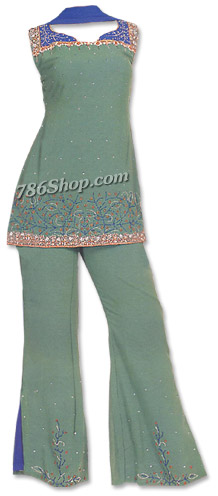 Green Georgette Trouser Suit | Pakistani Dresses in USA