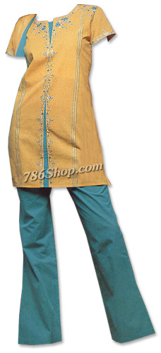 Mustard/Turquoise Georgette Trouser Suit | Pakistani Dresses in USA