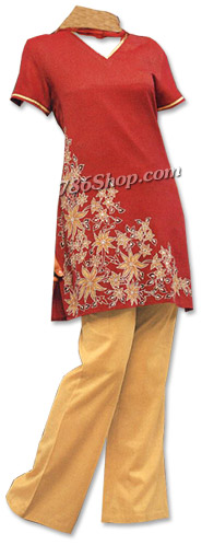 Maroon/Cream Georgette Trouser Suit | Pakistani Dresses in USA