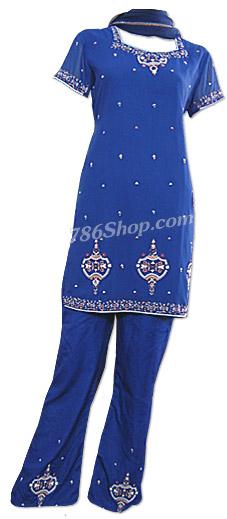 Blue Georgette Trouser Suit   Pakistani Dresses in USA