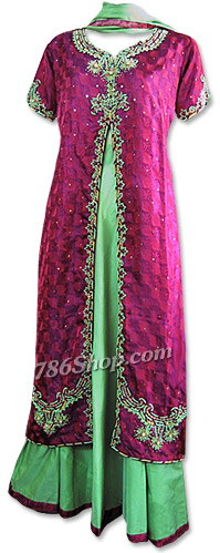 Magenta/Parrot Green Skirt  Suit | Pakistani Dresses in USA