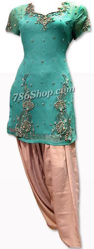 Sea Green/Peach Crinkle Chiffon Suit | Pakistani Dresses in USA