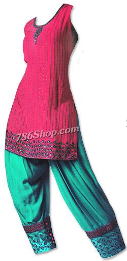 Magenta/Sea Green Silk Suit | Pakistani Dresses in USA