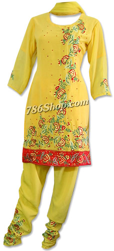 Yellow Georgette Suit    Pakistani Dresses in USA