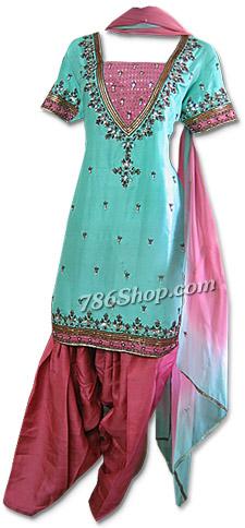 Light Green/Peach Silk Suit   Pakistani Dresses in USA