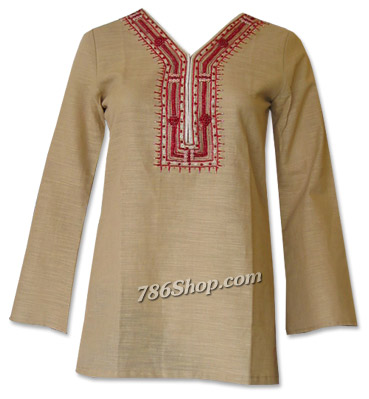 Beige Khaddi Cotton Kurti | Pakistani Dresses in USA