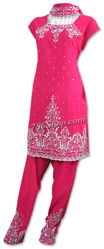 Hot Pink Georgette Trouser Suit | Pakistani Dresses in USA