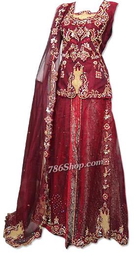 Maroon Katan Silk/Jamawar Lehnga | Pakistani Wedding Dresses in USA
