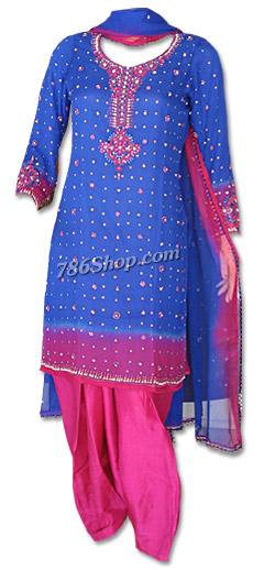 959ca1fbe68 Royal Blue/Hot Pink Chiffon Suit | Buy Pakistani Indian Dresses ...