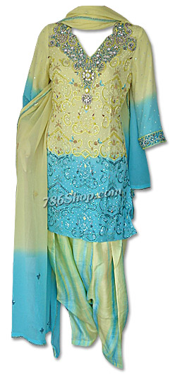 Yellow/ Turquoise Chiffon Suit | Pakistani Dresses in USA