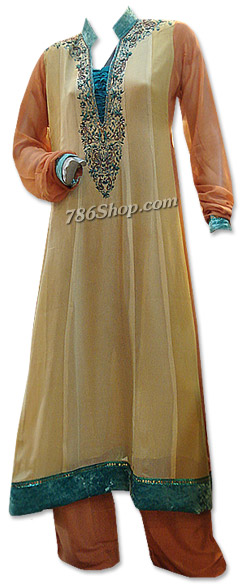 Light Golden/Brown Chiffon Suit | Pakistani Dresses in USA