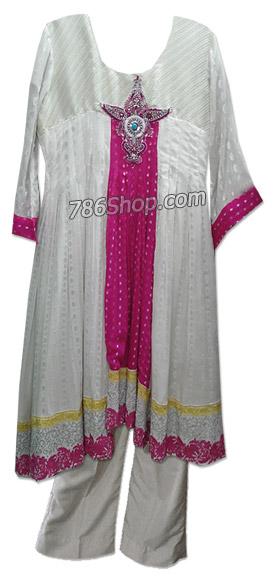 Off-white Chiffon Jamawar Suit  | Pakistani Dresses in USA