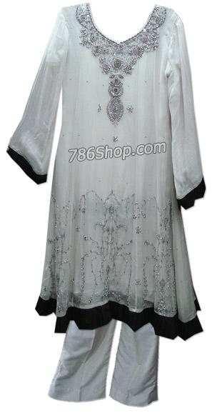 White Chiffon Suit | Pakistani Dresses in USA