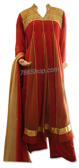 Red/Golden Chiffon Suit | Pakistani Dresses in USA