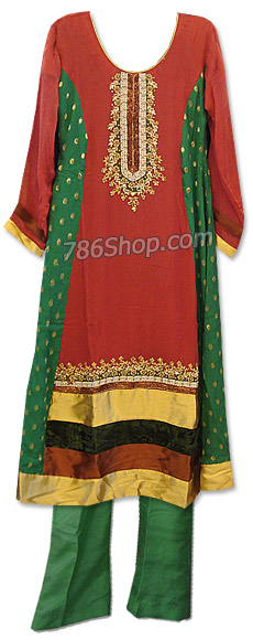 Red/Green Chiffon Suit | Pakistani Dresses in USA