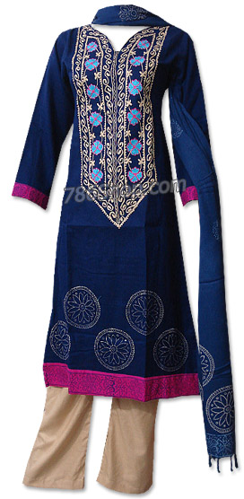 Navy Blue/Beige Marina Suit | Pakistani Dresses in USA
