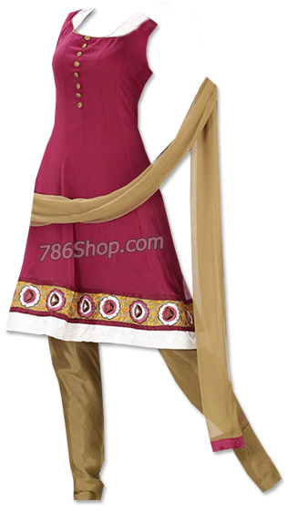 Magenta/Golden Georgette Suit  | Pakistani Dresses in USA