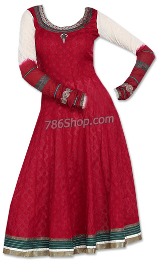 Red/Off-white Jamawar Suit | Pakistani Dresses in USA