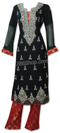 Black/Red Crinkle Chiffon Suit | Pakistani Dresses in USA