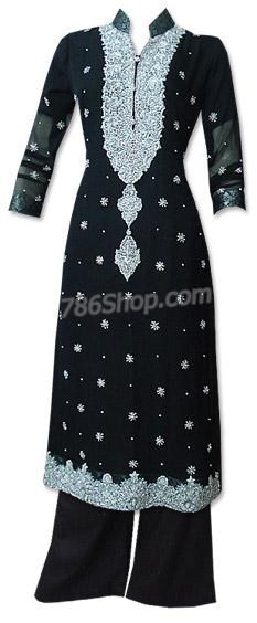 Black Crinkle Chiffon Suit | Pakistani Dresses in USA