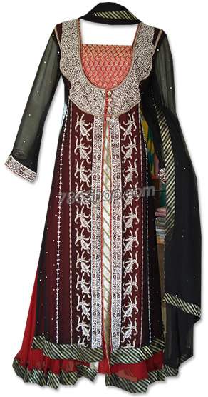 Brown/Black Crinkle Chiffon Suit | Pakistani Dresses in USA