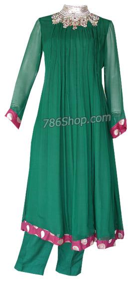 Dark Green Crinkle Chiffon Suit  | Pakistani Dresses in USA