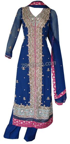 Blue Crinkle Chiffon Suit   Pakistani Dresses in USA