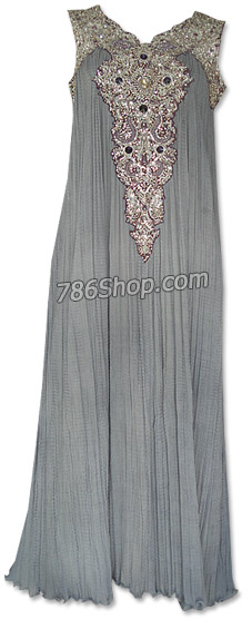 Grey Crinkle Chiffon Suit  | Pakistani Dresses in USA