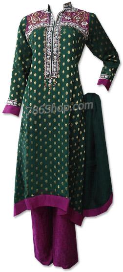 Dark Green/Magenta Chiffon Jamawar Suit  | Pakistani Dresses in USA